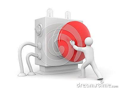 Person pressing stop button