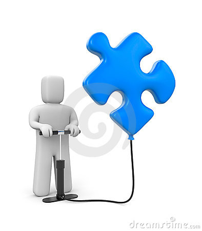 The Person Pumps Up Puzzle Stock Images - Image: 19016274