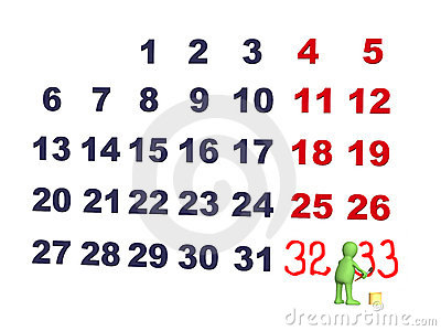 Person - puppet, adding numbers in a calendar