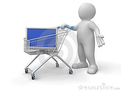 Person pushes Shopping Cart with TV