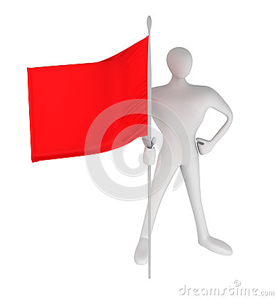 Person with red flag