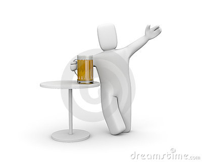 Person relaxing. Drink beer