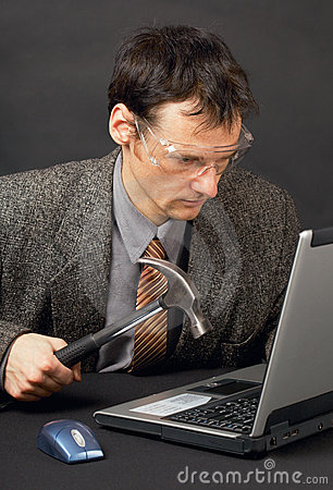 Person repairs laptop as is able