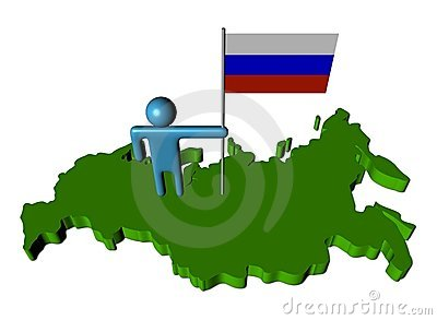Person with Russian flag on map
