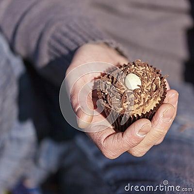 Hand Holding Chocolate Cupcake