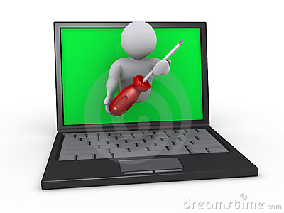 Person with screwdriver through laptop