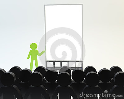 Person with seminar on white background