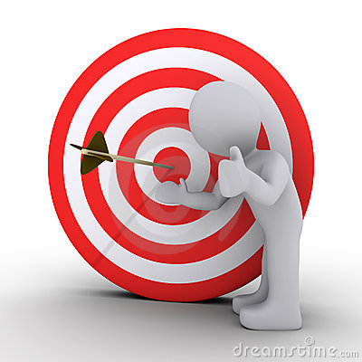 Person showing an arrow in the center of target