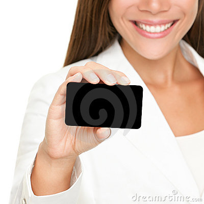 Person showing business card: woman