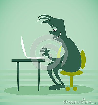 Person sits in front of the computer