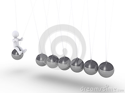 Person sitting on sphere of Newton s cradle