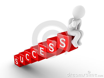 Person sitting on top of success blocks