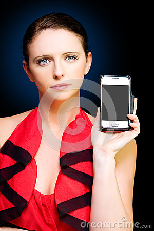 Person With Smart Mobile Phone And Blank Screen