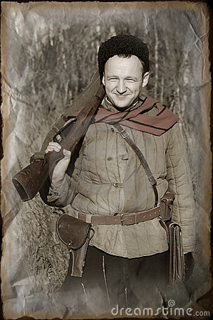 Person in Soviet WW2 military uniform