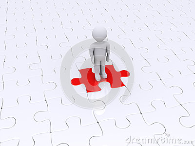 Person standing on different puzzle piece