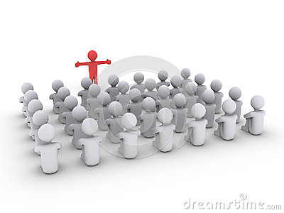 Person is teaching many others