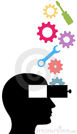 Person think technology tools invention idea gears