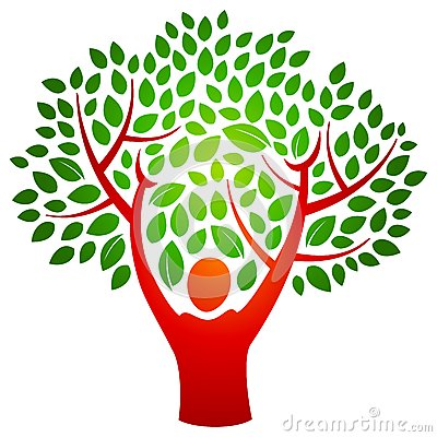 Person tree logo Vector Illustration