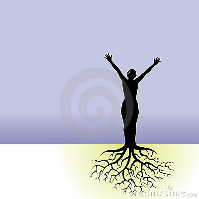 Person with tree roots
