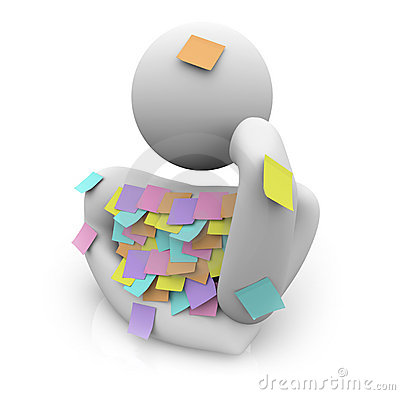Free Person Trying To Remember - Sticky Notes Stock Photo - 10665450