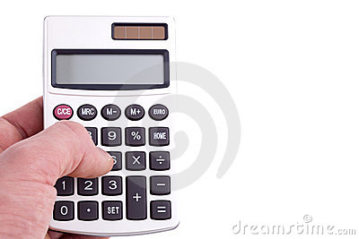 Person using calculator