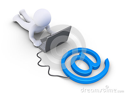 Person is using a computer connected to e-mail symbol