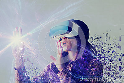 A person in virtual glasses flies to pixels. The woman with glasses of virtual reality. Future technology concept Stock Photo