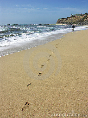Free Person Walking On Beach Royalty Free Stock Photos - 12450118