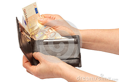 Person with a wallet full of euro notes
