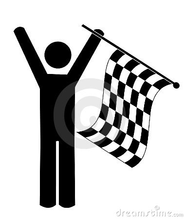 Person waving checkered flag