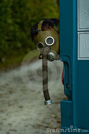 Person Wearing an Old Gas Mask