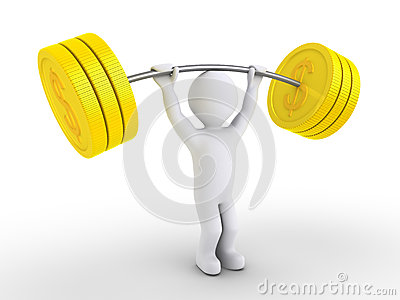 Person is weight lifting dollar coins
