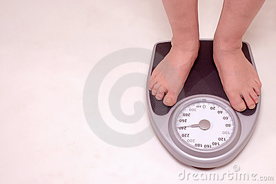 Person on weight scale