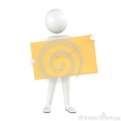 Person with yellow envelope.