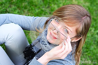 The Person Of The Young Girl In Glasses Stock Photo - Image: 15176120