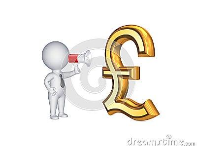 Persona 3d y muestra de la libra esterlina.