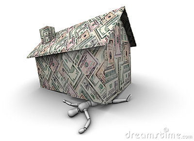 Persona machacada bajo la casa hecha del dinero