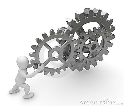 Personage with gears