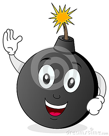 Personaje de dibujos animados divertido de la bomba