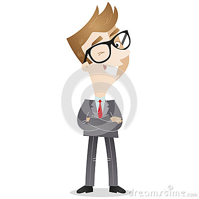 Personaje de dibujos animados: Hombre de negocios confiado