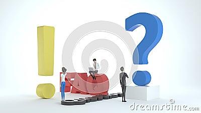 Personajes 3D de la gente cerca de exclamaciones y signos de interrogación Mujeres y hombres hacen preguntas y reciben respuestas ilustración del vector