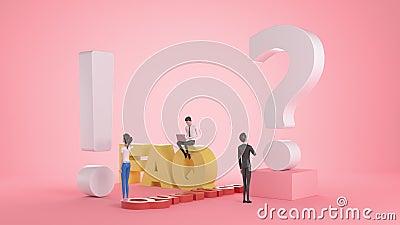 Personajes 3d Personas cerca de exclamaciones y signos de interrogación Mujeres y hombres hacen preguntas y reciben respuestas stock de ilustración