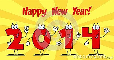 2014 personajes de dibujos animados de los números del Año Nuevo