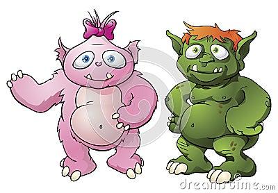 Personajes de dibujos animados lindos del monstruo