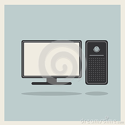 Personal Computer and Monitor Vector
