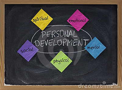 Personal development concept on blackboard