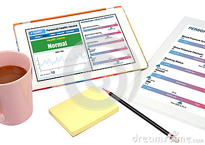 Personal health record show on tablet.