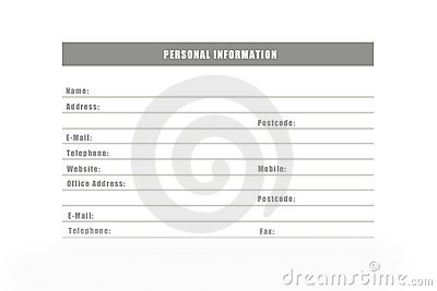 Personal Information Royalty Free Stock Photos - Image: 22753748