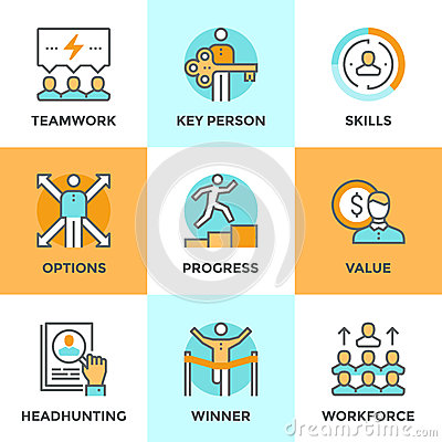 Free Personal Progress Line Icons Set Royalty Free Stock Images - 56881949