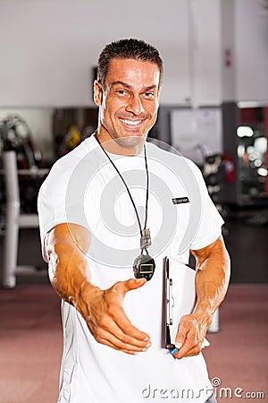 Personal trainer hand shake